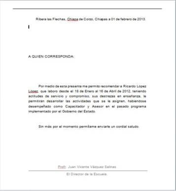 Descargar ejemplo de: Carta de recomendacion