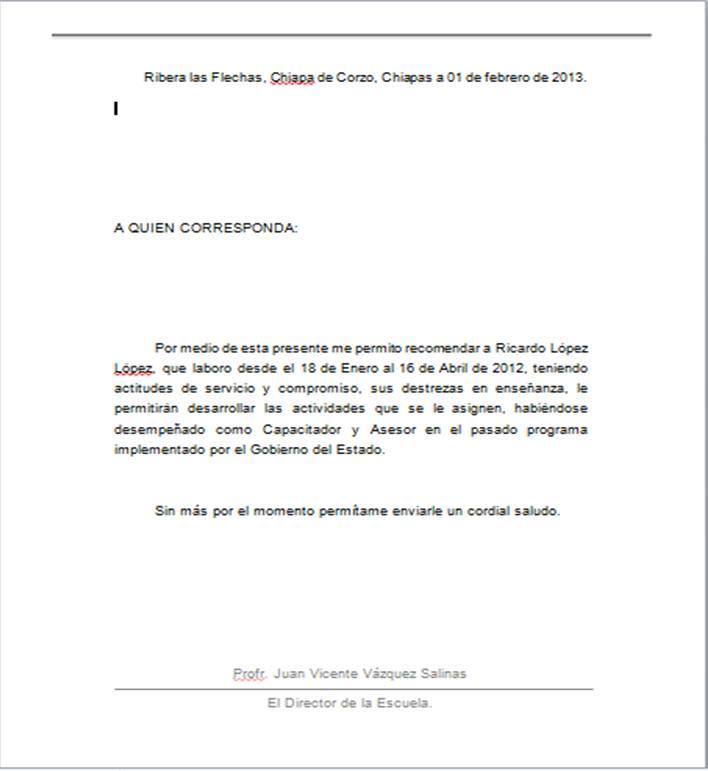 ejemplos de carta de recomendacion