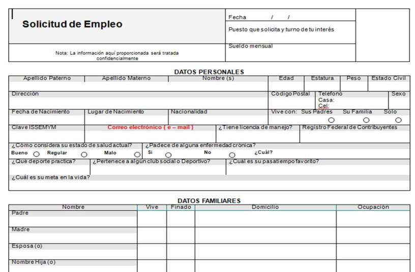 """Formato de: """"Solicitud de Empleo"""". – Yo soy Roiver. Bienvenido a mi Blog"""